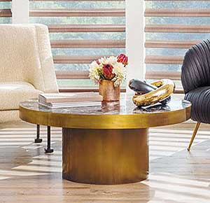 Golden Round coffee table in living room